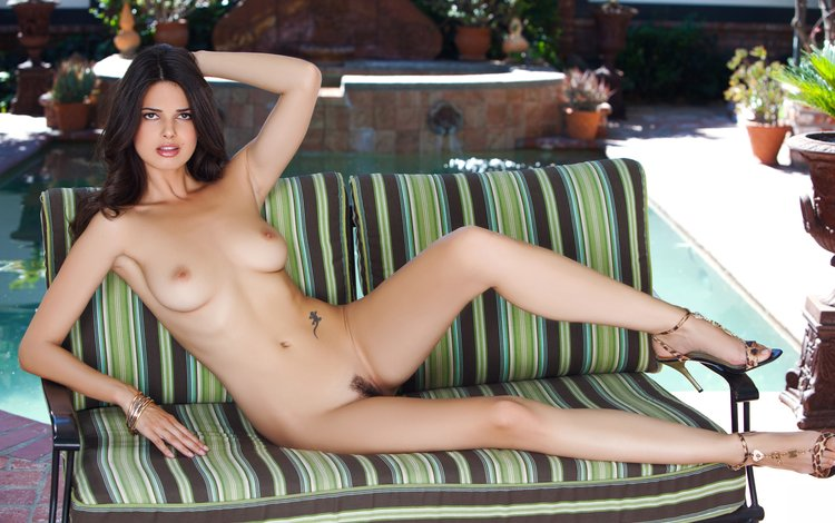 chair, heels, naked, nude, brunette, legs, outside