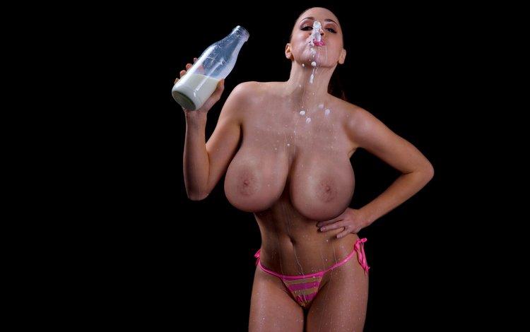 girl, model, chest, bottle, milk, jordan carver