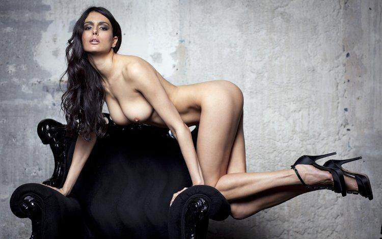 girl, pose, brunette, model, chest, legs, chair, naked, gabriela milagre
