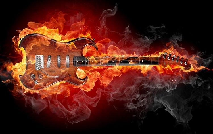 гитара, огонь, струны, рок, электрогитара, соло, гитарный риф, guitar, fire, strings, rock, electric guitar, solo, guitar riff