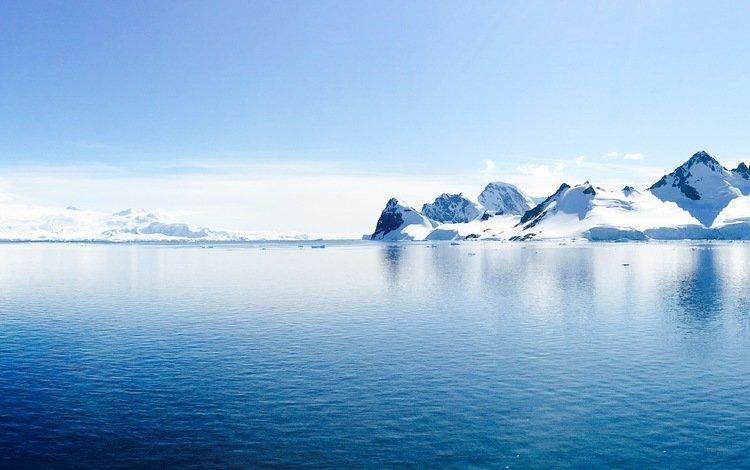 небо, скалы, снег, природа, океан, антарктида, the sky, rocks, snow, nature, the ocean, antarctica