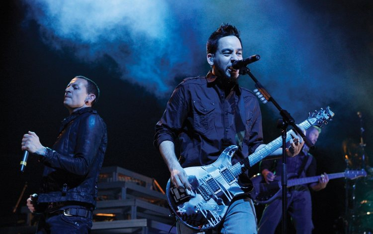 гитара, лп, микрофон, хеви-металл, рок, концерт, клуб, сцена, тур, линкин парк, guitar, pl, microphone, heavy metal, rock, concert, club, scene, tour, linkin park