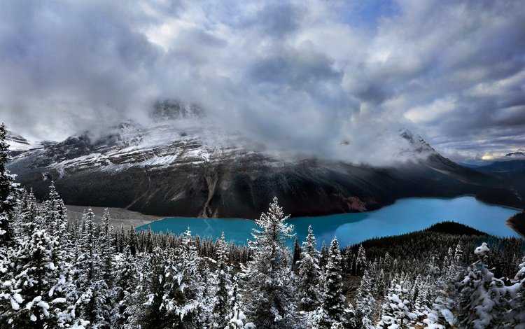 небо, peyto lake, облака, озеро, горы, природа, лес, канада, национальный парк банф, the sky, clouds, lake, mountains, nature, forest, canada, banff national park