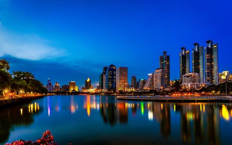 ночь, огни, отражение, город, таиланд, бангкок, night, lights, reflection, the city, thailand, bangkok