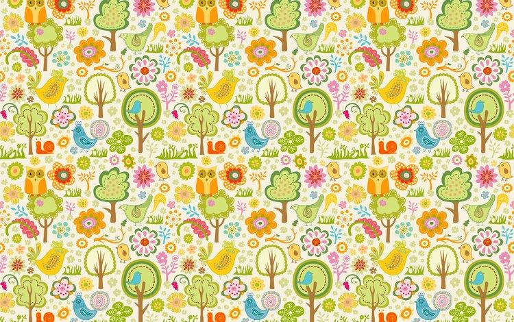 цветы, деревья, обои, дизайн, узор, птицы, совы, flowers, trees, wallpaper, design, pattern, birds, owls
