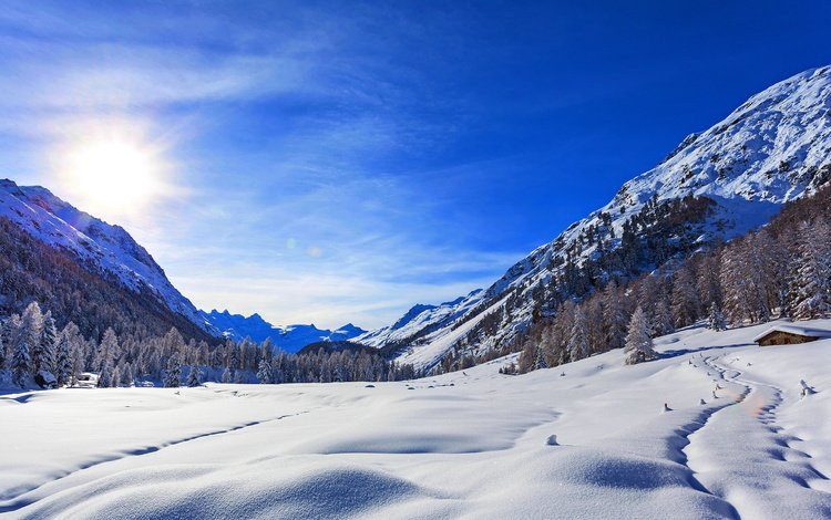 небо, следы, горы, снег, природа, лес, зима, пейзаж, дом, the sky, traces, mountains, snow, nature, forest, winter, landscape, house