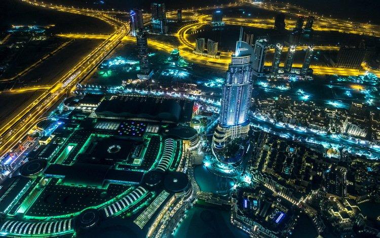 ночь, огни, город, небоскребы, дубаи, оаэ, бурдж-халифа, night, lights, the city, skyscrapers, dubai, uae, burj khalifa