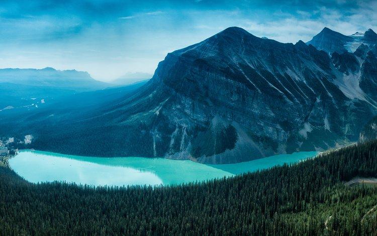 лес, гора, канада, национальный парк, банф, провинция альберта, озеро луиз, forest, mountain, canada, national park, banff, alberta, lake louise