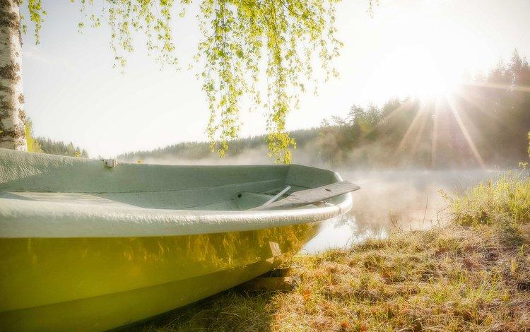 река, солнце, лодка, river, the sun, boat