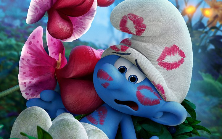 мультфильм, поцелуй, помада, смурфики: затерянная деревня, смурф, растяпа, смурфик, cartoon, kiss, lipstick, the smurfs: the lost village, smurf, bungler