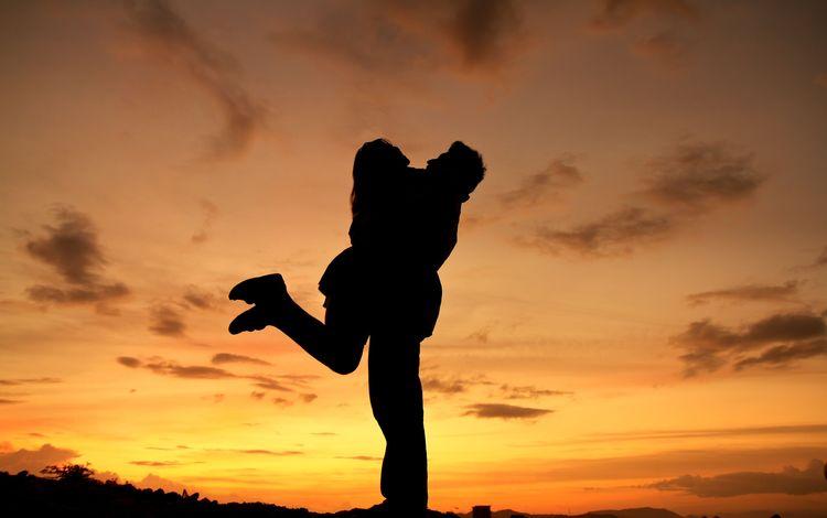небо, пара, девушка, свидание, настроение, парень, радость, силуэты, любовь, романтика, the sky, pair, girl, date, mood, guy, joy, silhouettes, love, romance