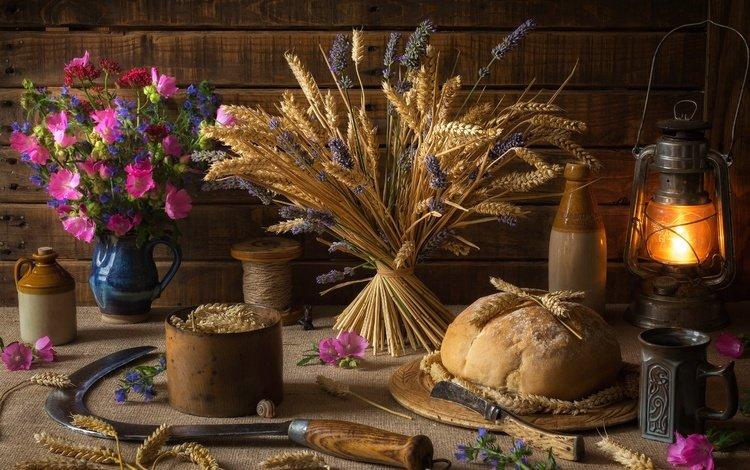 цветы, натюрморт, лаванда, серп, фонарь, пшеница, кружка, хлеб, колоски, flowers, still life, lavender, hammer, lantern, wheat, mug, bread, spikelets