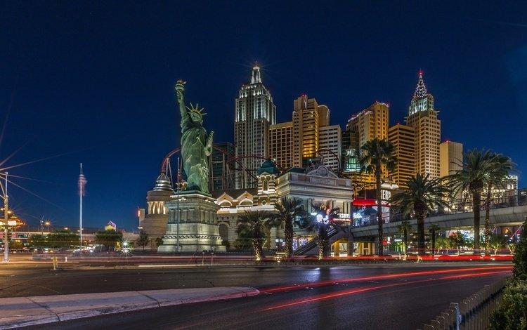 ночь, казино, дома, улица, сша, лас-вегас, статуя свободы, night, casino, home, street, usa, las vegas, the statue of liberty