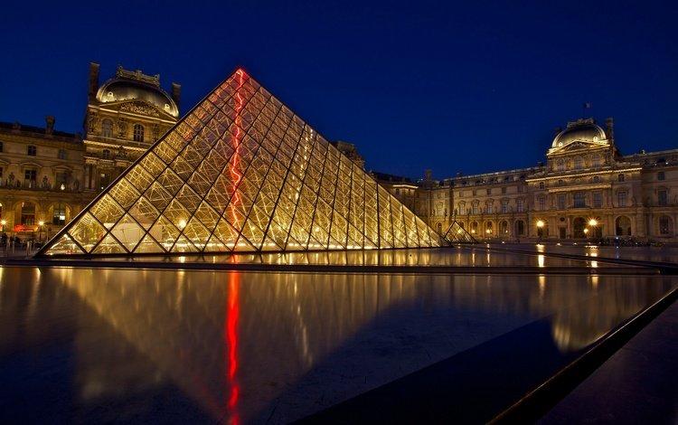 ночь, огни, город, париж, франция, лувр, музей, night, lights, the city, paris, france, the louvre, museum