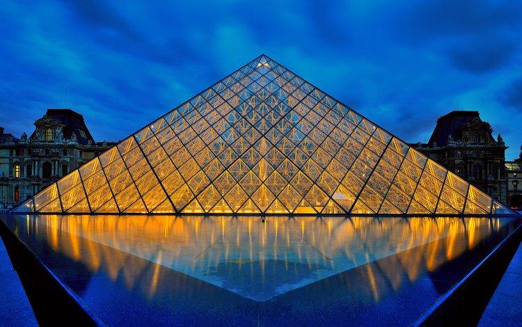 ночь, отражение, париж, стекло, франция, крыша, лувр, музей, night, reflection, paris, glass, france, roof, the louvre, museum