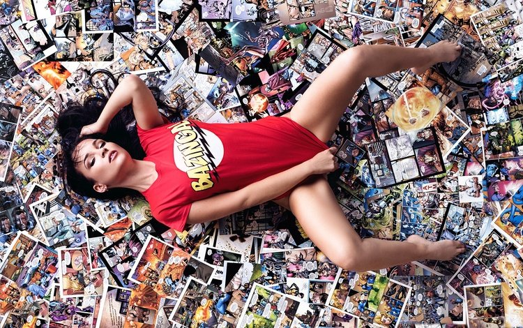 girl, brunette, model, legs, macho, t-shirt, comics, deutschland, north rhine-westphalia, designpictures, nerdy comic girl
