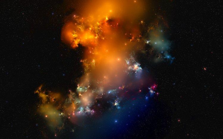 lights, color, stars, nebula, matter