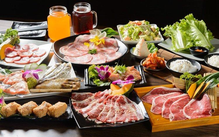 зелень, овощи, мясо, рис, сок, морепродукты, ассорти, нарезка, greens, vegetables, meat, figure, juice, seafood, cuts, cutting