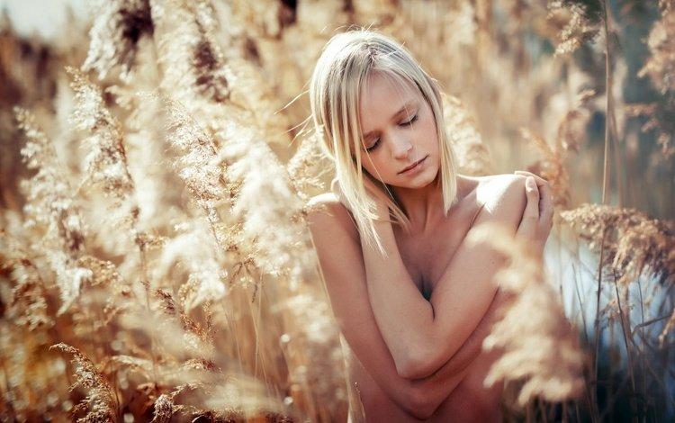 природа, растения, девушка, блондинка, модель, колоски, закрытые глаза, tatjana, nature, plants, girl, blonde, model, spikelets, closed eyes