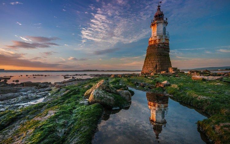 река, отражение, маяк, побережье, англия, ланкашир, abbey lighthouse, река лун, river, reflection, lighthouse, coast, england, lancashire, river lune