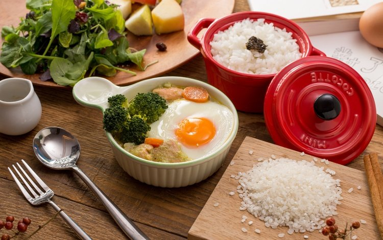 зелень, овощи, рис, брокколи, яичница, greens, vegetables, figure, broccoli, scrambled eggs