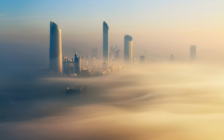 утро, туман, здания, дубай, оаэ, morning, fog, building, dubai, uae