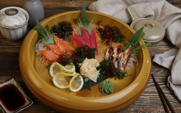 зелень, лимон, рыба, морковь, морепродукты, имбирь, фунчоза, greens, lemon, fish, carrots, seafood, ginger, cellophane noodles