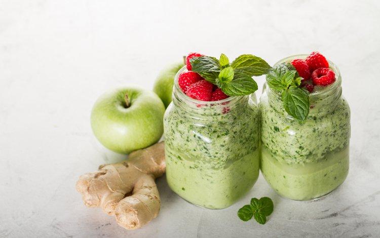 мята, напиток, малина, яблоки, имбирь, смузи, mint, drink, raspberry, apples, ginger, smoothies