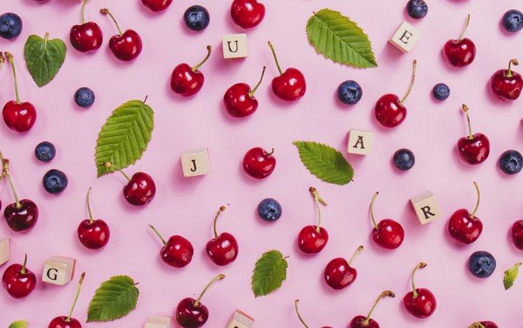 лето, буквы, кубики, черешня, ягоды, вишня, черника, summer, letters, cubes, cherry, berries, blueberries