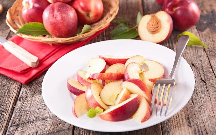 фрукты, дольки, тарелка, косточка, нектарин, fruit, slices, plate, bone, nectarine