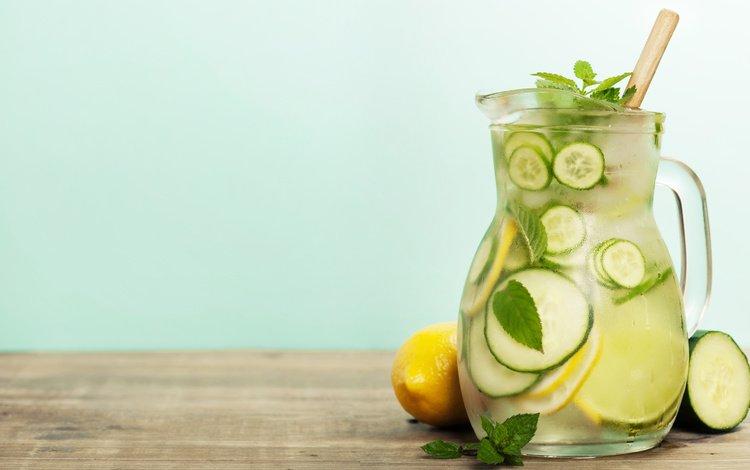 мята, напиток, лёд, кувшин, лимоны, лимонад, mint, drink, ice, pitcher, lemons, lemonade