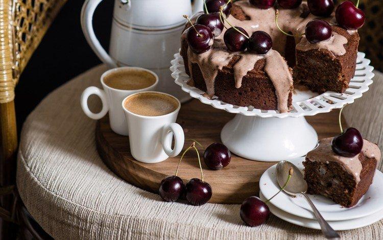 кофе, натюрморт, черешня, ложка, кресло, кекс, вишня, чашка, тарелка, выпечка, десерт, пирог, pie, coffee, still life, cherry, spoon, chair, cupcake, cup, plate, cakes, dessert