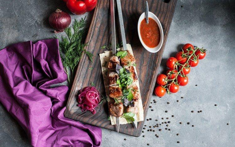зелень, еда, лук, мясо, шашлык, соус, лаваш, помидоры-черри, greens, food, bow, meat, kebab, sauce, pita, tomatoes-cherry