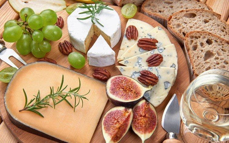 зелень, орехи, виноград, еда, сыр, хлеб, инжир, бокал вина, greens, nuts, grapes, food, cheese, bread, figs, a glass of wine