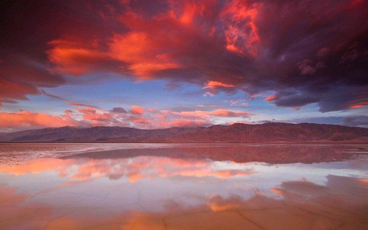 небо, облака, озеро, горы, закат, отражение, the sky, clouds, lake, mountains, sunset, reflection