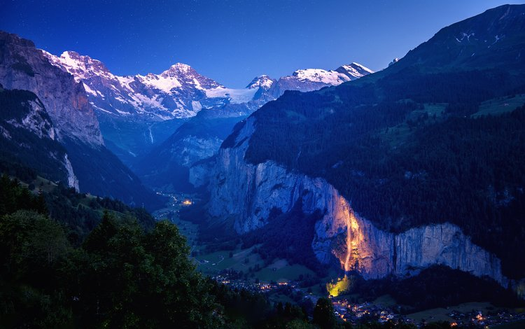 the sky, night, mountains, nature, switzerland