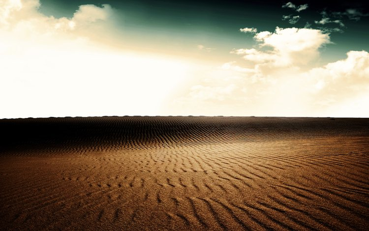 the sky, clouds, landscape, sand, desert, dunes