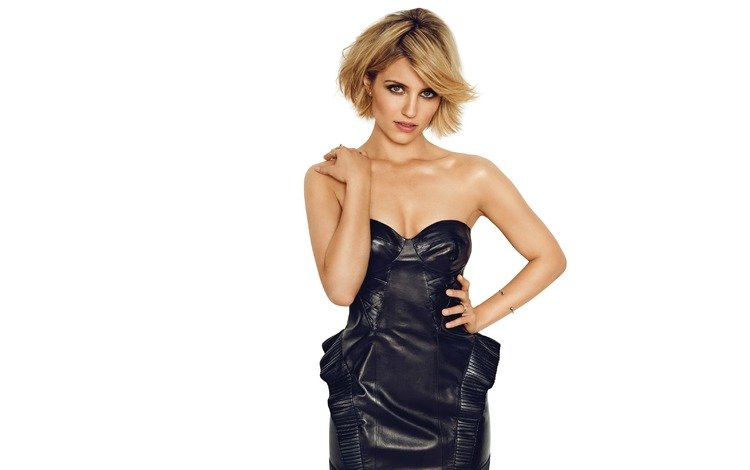 girl, look, hair, face, actress, white background, black dress, bare shoulders, dianna agron