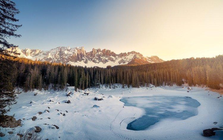 озеро, горы, снег, лес, зима, пейзаж, италия, доломитовые альпы, lake, mountains, snow, forest, winter, landscape, italy, the dolomites