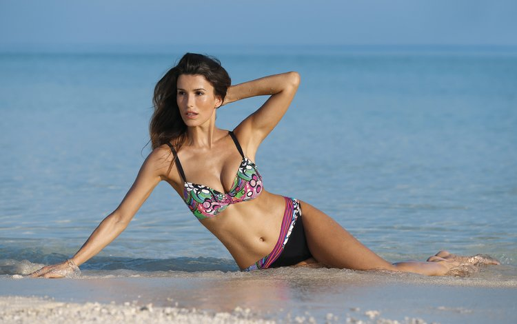 девушка, море, пляж, брюнетка, модель, бикини, domenico pelella, girl, sea, beach, brunette, model, bikini