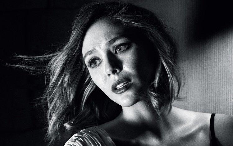 girl, look, black and white, model, hair, face, actress, elizabeth olsen