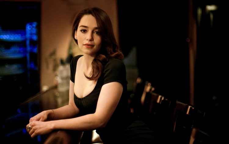 girl, brunette, look, hair, face, actress, black dress, emilia clarke