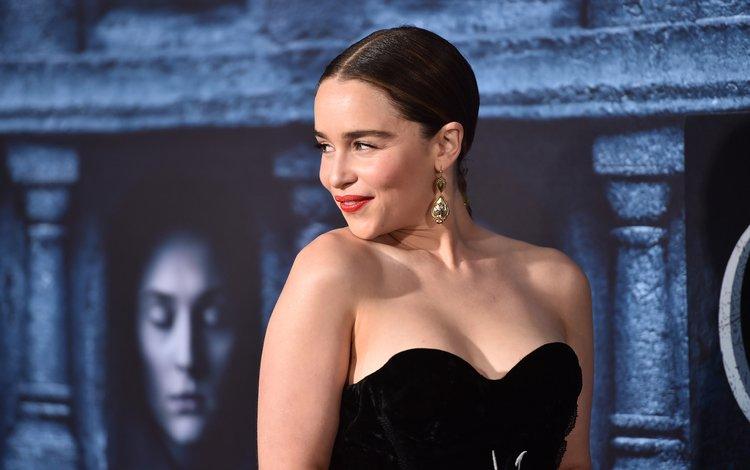 smile, brunette, actress, earrings, neckline, bare shoulders, emilia clarke