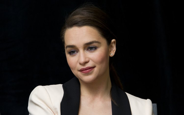 girl, smile, look, hair, black background, face, actress, emilia clarke