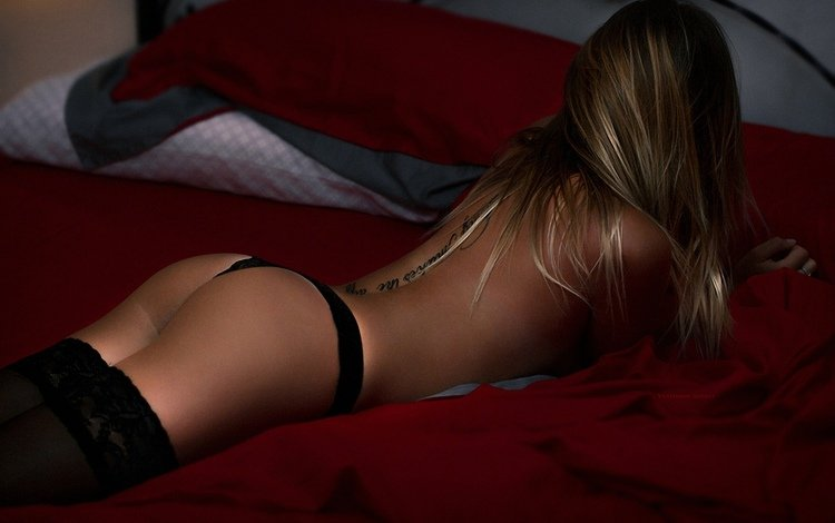 girl, blonde, model, stockings, bed, ass, lying, vladimir sobko