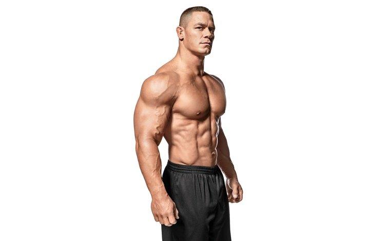 поза, рестлер, актёр, белый фон, пресс, торс, мышцы, бодибилдер, джон сина, pose, wrestler, actor, white background, press, torso, muscle, bodybuilder, john cena