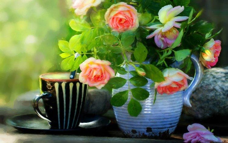 цветы, натюрморт, листья, стиль, розы, лепестки, кружка, букет, кувшин, flowers, still life, leaves, style, roses, petals, mug, bouquet, pitcher