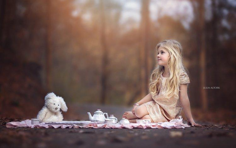настроение, чаепитие, взгляд, зайчик, дети, g f gentert, девочка, игрушка, волосы, лицо, ребенок, mood, the tea party, look, bunny, children, girl, toy, hair, face, child
