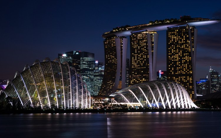 night, lights, river, the city, promenade, construction, building, singapore, marina bay sands