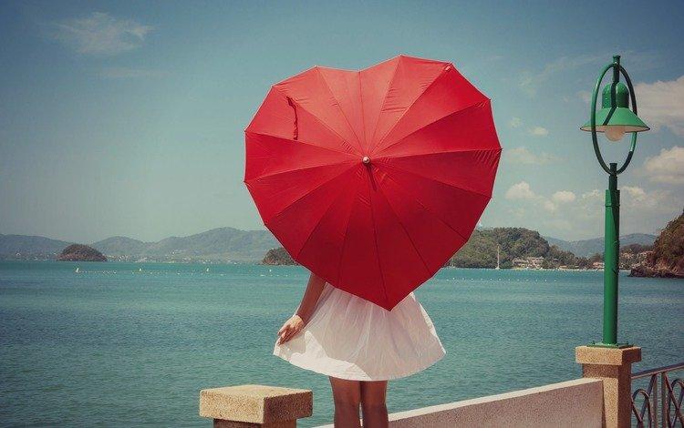 небо, зонт, река, зонтик, девушка, настроение, платье, мост, сердце, фонарь, the sky, umbrella, river, girl, mood, dress, bridge, heart, lantern